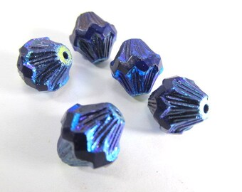 Cobalt Blue Purple Iris 13mm x 11mm Czech Baroque Bicones (5)