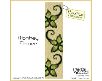 Peyote Pattern for bracelet: Monkey Flower  - INSTANT DOWNLOAD pdf -Discount codes are available