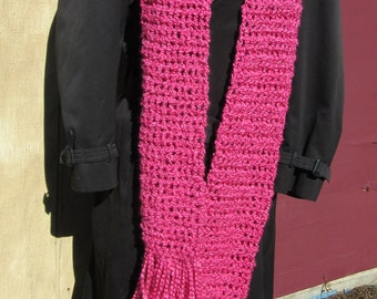 Oversize Pink Scarf 107x5 Inches Extra Long Chunky Super Neckscarf Womans Handmade Crochet Knit Birthday Gift Unique Catwalk Spring Summer