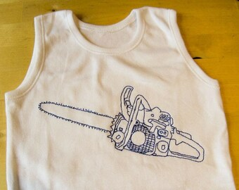Chainsaw Baby vest, romper suit Chainsaw freemotion embroidered.