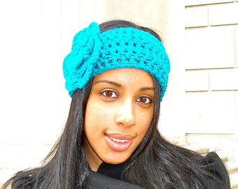 Crochet Headband,Flower Headband, Ear Warmer With Flower, Adult, Crochet, Women, Teen,