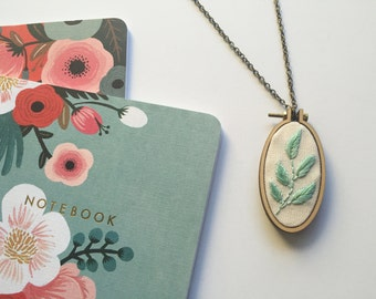 Always Growing // Minimalist Ombre Leaves // Embroidery Hoopart Necklace