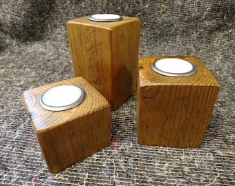 Hand Made Vintage Pine Candle Holders