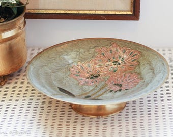 Cloisonné Floral Enameled Brass Footed Bowl catch all