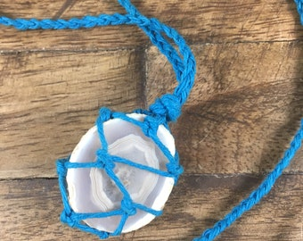 Sliced Agate Turquoise Hemp layering Necklace // Beach Series