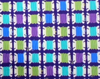 Moda Purple Fabric with Colorful Thread Spoons (by the yard)