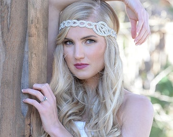 "Pink Pewter ""Lorelei"" Silver Headband and Choker Necklace"