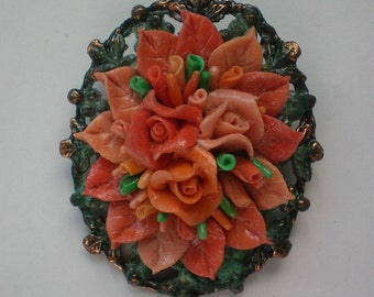 Copper Mounted Molded Celluloid Coral Roses Pin / Pendant - 3859