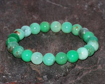 8mm Chrysoprase Bracelet, Stacking Bracelet, AA Grade, Green Gemstone, Green Jewelry, Green Stone Bracelet, Chrysoprase Beaded Bracelet