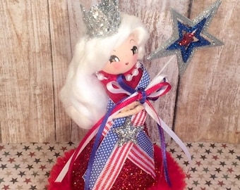 Independence Day july 4th memorial day decor 4th of July vintage retro inspired blonde doll USA America centerpiece