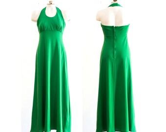 1970s green halter top maxi dress