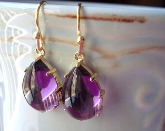 Amethyst glass earrings handmade gold plated purple violet lavender elegant chic drop dangle earrings for women baroque marquise teardrop