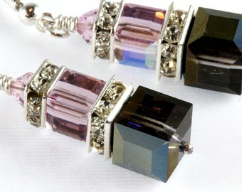 Swarovski Crystal Cube Earrings, Swarovski, Sterling Silver, Heliotrope and Light Amethyst, Stacked Cubes