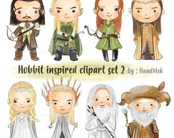Hobbit inspired clipart set 2 Instant Download PNG file - 300 dpi