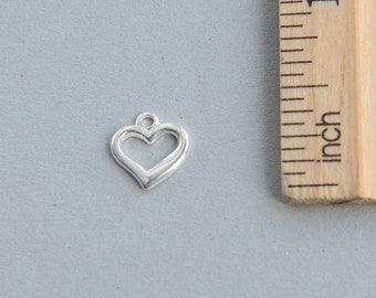 Sterling Silver Heart Charm, 925 Sterling Silver heart Charm, Tiny Heart Charm, Cut Out Heart Charm, Open Heart Pendant, 9mm ( 1 piece )