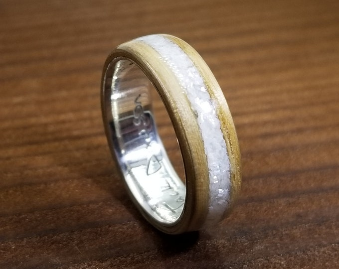 Oak Bentwood Ring with your choice of inlay and engravable argentium core