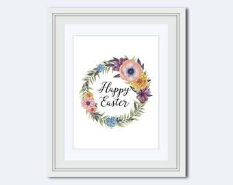 easter printable - Happy Easter printable - Easter wall art - wildflower wreath - Easter wreath - Easter Decor - Easter print - flower print