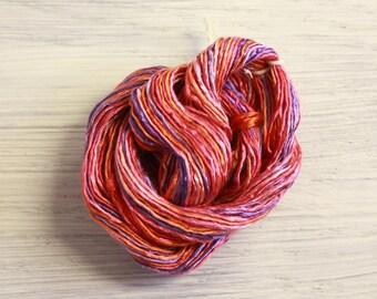 Worm Goo Silk Thread Mini Skein Hand Dyed Fruity Crush