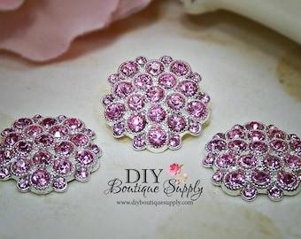 Rhinestone buttons PINK Crystal Buttons Rhinestone Flatback Crystal Metal Embellishment flower centers Scrapbooking 5pcs 25mm 442061