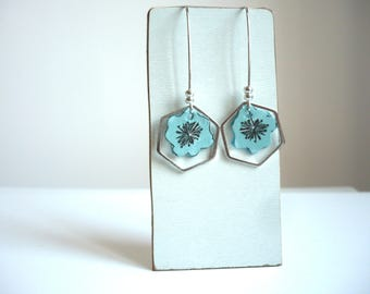 Earrings large hooks and Hexagon costume silver and turquoise flowers leather
