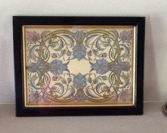 Victorian embroidery on silk, floral silk embroidery, silk picture,steam and blue silk embroidery