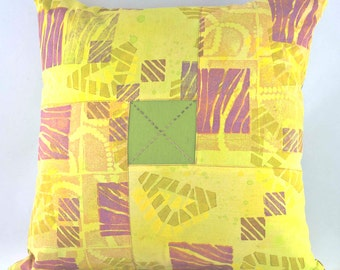 Pillow - Home Decor - Hand Painted - Throw Pillow - Decorative Pillow - Art Pillow - Sun Yellow, Kiwi Green, Melon, Lavender - Home Decor