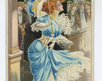 Pretty Lady Out For a Stroll Postcard - 1909