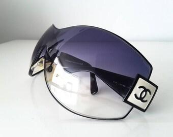 Vintage CHANEL oversized shield sunglasses