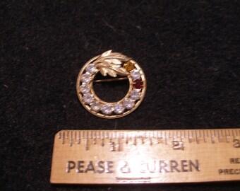 D.E.C. Gold Filled Rhinestone Brooch(556)