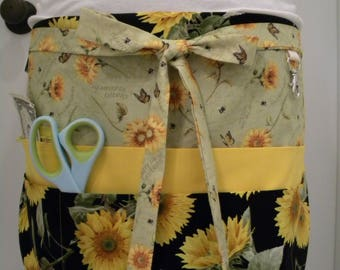 Teacher Aprons-Crafter Vendor Utility Apron-Sunflowers and Bees