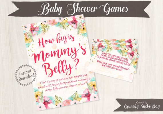 Printable Baby Shower Games, How Big Is Mommy's Tummy, Floral, Baby Shower, Party Printables, Baby Shower Decorations, Teal, Pink 001