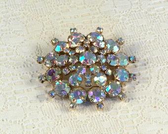Aurora Borealis Iridescent Rhinestone Brooch // Vintage // Elegant // Dramatic // Luxurious // Dazzling //  Exquisite // Hollywood Glam
