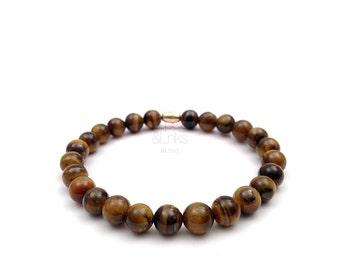 Tiger eye beaded bracelet, minimalist mens elastic bracelet, heart bracelet, made in Italy.