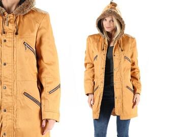 Hooded Parka Jacket Vintage Yellow Parka Coat 80s Winter Jacket Multi Pockets Insulated Rain Coat Chunky Belted Jacket Outerwear . Medium