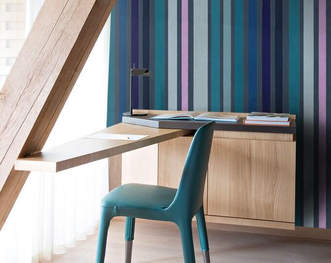 Blue Striped Wallpaper  - Vintage Striped Wallpaper - Striped Wallpaper