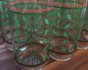 Libbey Holiday Stripes Tumblers - set of 12