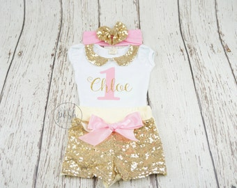 first birthday outfit, 2nd birthday outfit, girl birthday outfit, gold and pink outfit, princess birthday outfit, girl birthday top, 1st