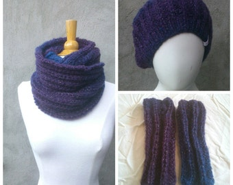 Blue and purple wool set of hat, cowl and mittens, winter set, wool winter set, cowl hat mittens set, purple wool hat, purple wool cowl