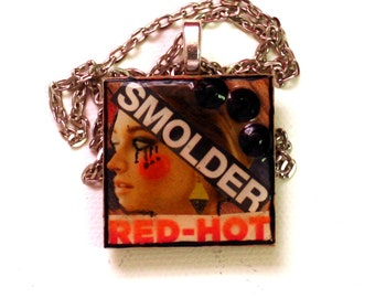 Mixed Media Art Collage Pendant - Art Jewelry - Altered Art - Resin Pendant - Wood Pendant - Funky Girl - Goth Girl Jewelry- Word Play