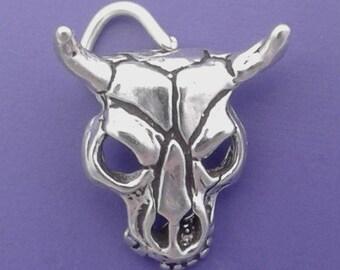COW SKULL Charm .925 sterling Silver, Texas Longhorn Steer, Cattle Skull Pendant - sc091
