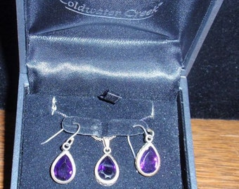 Sterling Coldwater Creek Amethyst Earring and Pendant Set