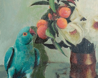 Limited Edition Giclee Print Blue Bird and Flowers