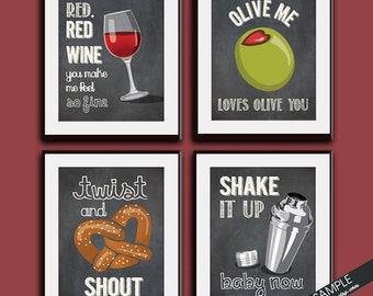 Red Wine, Olive You, Twist, Shake it up (Funny Kitchen Song Series) Set of 4 Art Prints (Featured in Vintage Chalkboard) Kitchen Art