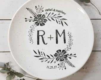 Monogram Coupe, Personalized Pottery, Monogram Wedding Platter with Couple's Names, Ceramic 50th Anniversary Year, 25th Anniversary Gift