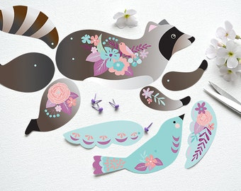Instant DIY Download - Articulated Paper Raccoon with Bird