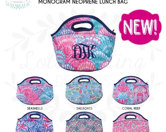 Lilly Pulitzer Inspired Neoprene Insulated Lunch Bag Lunch box with Monogram