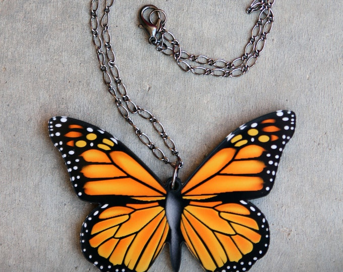 Featured listing image: Butterfly Necklace, Butterfly Jewelry, Monarch Butterfly, Lasercut Jewelry, Orange, Wings Necklace, Nature Jewelry