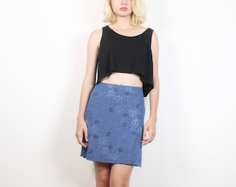 Vintage 1990s Skirt Blue Stretch Bandage Bodycon Butterfly Print Mini Skirt 90s Tennis Skirt Hipster Soft Grunge Club Kid Skirt S M Medium