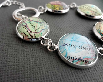 Personalized Jewelry, Silver Bracelet, Customised Jewellery, Bride Gift, Spring Wedding, Map Bracelet, Travel Themed