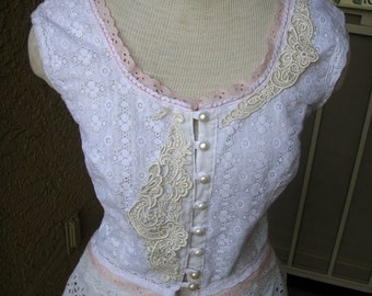 Handsewn Eyelet Lace Applique Top Blouse, White Feminine, Size Large